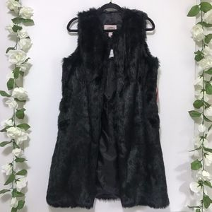 NWT Forever 21 Black Faux Fur Duster M